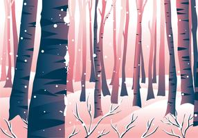 Winter Forrest Scen Landskap vektor