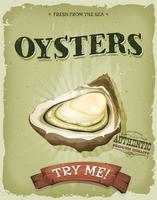 Grunge och Vintage Oyster Shell Poster vektor