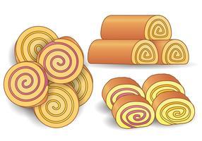 Kuchen und Gelee-Rollenvektor