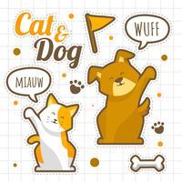 Katt och hund Hello Stickers Set vektor