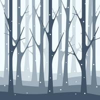 Schneefall-Winter Forest Nature Illustration Background vektor