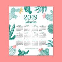 Gullig 2019 kalender med kaktus vektor