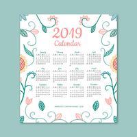 Gullig 2019 kalender med blommor och löv vektor