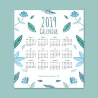 Gullig 2019 Kalender med Blå Löv och Blommor vektor