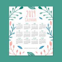 Gullig 2019 Kalender med Colofulblad vektor