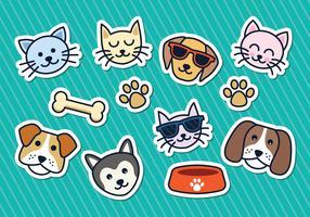 Katt och hund klistermärkear vektor