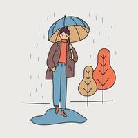 Stor pojke i mitten av regnet