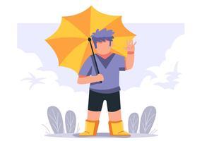 Junge hält Regenschirm vektor