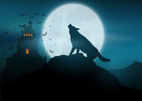 Halloween-Hintergrund mit dem Wolf, der am Mond heult