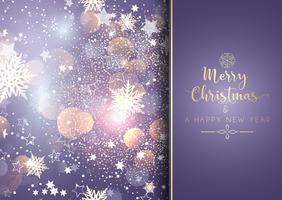 Dekorativ jul bakgrund med bokeh ljus och snöflingor vektor