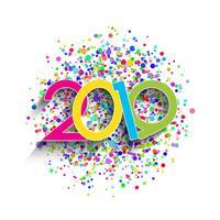 Hintergrund des neuen Jahres mit bunten Zahlen und Konfetti