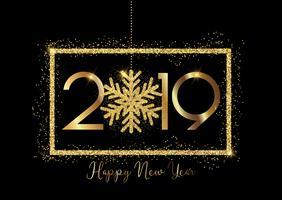 Gott nytt år bakgrund med guld bokstäver och glittrande snöflingor
