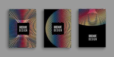 Broschyrmallar med färgglada abstrakta mönster