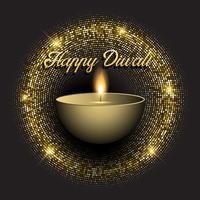 Diwali bakgrund med guld glittrande ljus