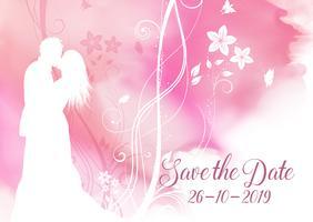 Akvarell Spara datumet dekorativt inbjudan design