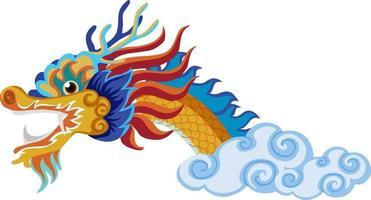 chinesischer drache fliegt über wolken isoliert auf weißem hintergrund vektor