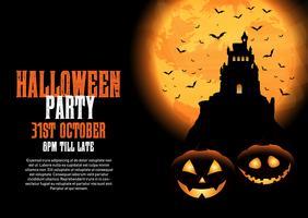 Halloween-Hintergrund mit Schloss und Kürbissen