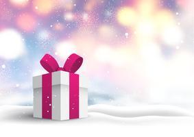 Julklapp i snöigt landskap vektor