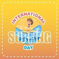 Internationaler Surftag-Banner mit einem Mädchen-Surfer-Cartoon-Charakter vektor
