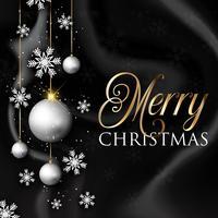 Julgranor och snöflingor på svart marmortextur vektor