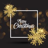 Weihnachtshintergrund mit glittery Schneeflocken und weißem Rahmen