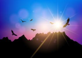 Silhuetter av fåglar som flyger mot solnedgångshimmel