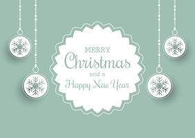 Weihnachtshintergrund mit Aufkleber und hängendem Flitter vektor