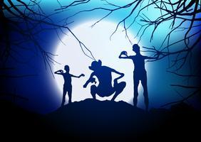 Halloween demoner mot en månbelyst himmel