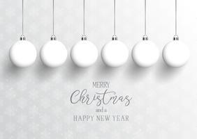 Weihnachten und Neujahr Hintergrund mit hängenden Kugeln