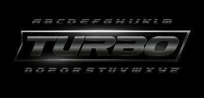 Turbo-Speed-Schrift mit dunkler, matter Metallstruktur. Fahren Sie dynamische Stahlbuchstaben, fettes kursives Alphabet. Chromsatz für Automobilindustrie, Fitnessstudio, Sport. Vektortypografie vektor