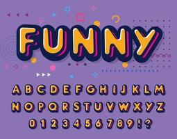 farbige Schriftart. lustige buchstaben und zahlen eingestellt. verspieltes Alphabet im Stil. Retro-ABC für Party, Disco, Schule und Spaß vektor