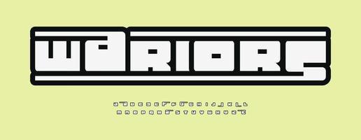 Wariors geometrisches Alphabet, dicke Buchstaben mit Umrissrahmen, geometrischer minimalistischer Stil für modernes Logo, Überschrift, Monogramm, Spielbeschriftung und Typografie. modernes fettes Schriftdesign. vektor