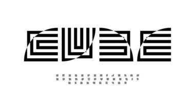 geometrisches abstraktes Alphabet, dekorative Buchstaben. verzerrter quadratischer Typ für modernes Mode- oder Architekturlogo und Monogramm. Typografie der optischen Täuschung. Labyrinth Fettschrift, typografisches Design des Vektors vector