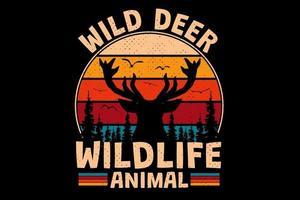 T-Shirt Wildhirsch Tierwelt Tier Retro Vintage-Stil vektor