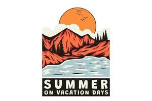 T-Shirt Sommer an Ferientagen Bergsee handgezeichnete Retro-Vintage-Stil vektor