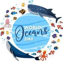 World Ocean Day Banner mit vielen verschiedenen Meerestieren many vektor