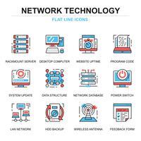 Netztechnologie-Ikonen eingestellt vektor