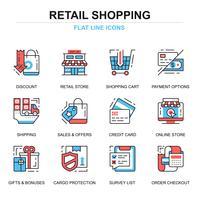 Shopping och E-handels ikonuppsättning