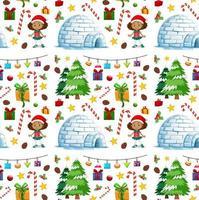 nahtloses Muster mit Weihnachtselementen auf weißem Hintergrund vektor