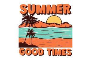 T-Shirt Sommer gute Zeiten Strand tropische handgezeichnete Retro-Vintage-Stil vektor