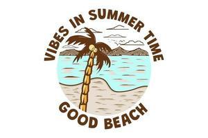 T-Shirt Vibes im Sommer guter Strand Retro-Vintage-Stil vektor