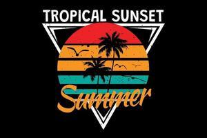 T-Shirt tropischer Sonnenuntergang Sommer Sommer Retro-Vintage-Stil vektor