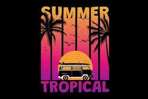 T-Shirt Sommer Sonnenuntergang tropischer Strand Retro-Vintage-Stil vektor