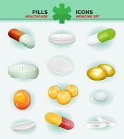 Piller, kapslar och medicin tablett ikoner