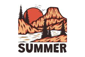 T-Shirt Sommer Berg handgezeichnete Retro-Vintage-Stil vektor