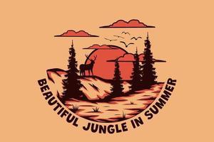 T-Shirt schöner Dschungel im Sommer Hirsch auf Hügel handgezeichnete Retro-Vintage-Stil vektor