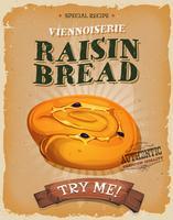 Grunge und Weinlese-Rosinen-Brot-Plakat vektor