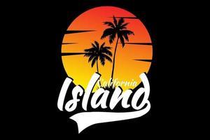 T-Shirt Kalifornien Insel schöner Sonnenuntergang Himmel Design vektor