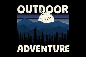 T-Shirt Outdoor-Abenteuer Landschaft Sonnenuntergang Vintage-Stil vektor