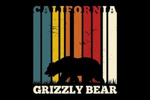 T-Shirt California Grizzlybär Retro-Vintage-Stil vektor